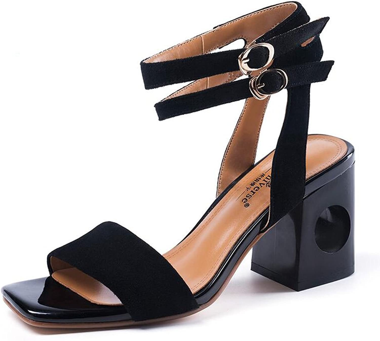 Jinsen Summer Fish Mouth Sandals Female Thick with Black Fashion with A Word Buckle High Heels Female