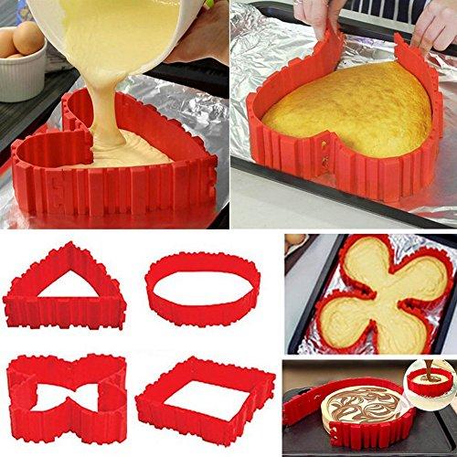 Nonstick 4pcs Silikon Kuchenform Kuchen Pfanne magische backen Schlange DIY Backform Werkzeuge, Design Ihre Kuchen jede Form, Herz Schmetterling rundes Quadrat, rot