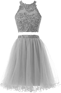 SOLOVEDRESS Women's Two 2 Pieces Short Prom Dress Tulle Beaded Homecoming Dress Cocktail Party