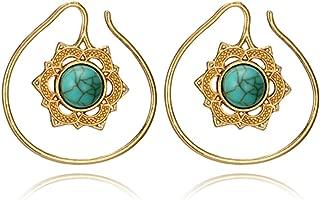 Tribal Spiral Star Flower Shape Drop Earring Women Green Rhinestone Gold Silver Hook Earrings