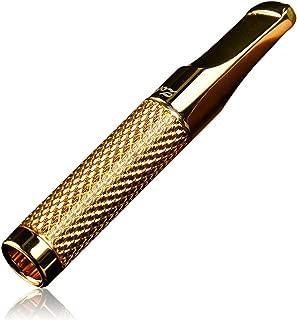 CaLeQi: boquilla filtrante para el humo del tabaco 24K dorada y plateada, reutilizable, para filtrar el alquitrán, con recipiente para la ceniza (con una caja de regalo de marca)