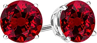 1/2-10 Carat Total Weight Ruby Stud Earrings 4 Prong Push Back