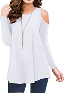 PrinStory Women's Long Sleeve Casual Cold Shoulder Tunic Tops Loose Blouse Shirts