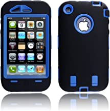 JEXON (TM) Hard Case with Soft Skin Rubber Silicone Cover for Iphone 3g 3gs Black/Blue