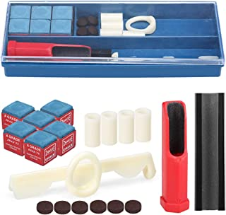 20-IN-1 Billiard Repair Kit Cue Tip Repair Tool Billiard Chalk Pool Cue Tips Cue Stick Ferrules Cue Tip Clamp Cue Tip Trim...