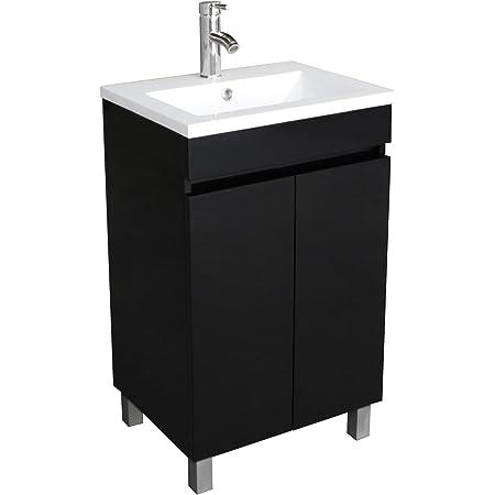 Bathjoy 20 Inch Black Single Wood Bathroom Vanity Cabinet With Undermount Vessel Sink Faucet Drain Combo Amazon Com