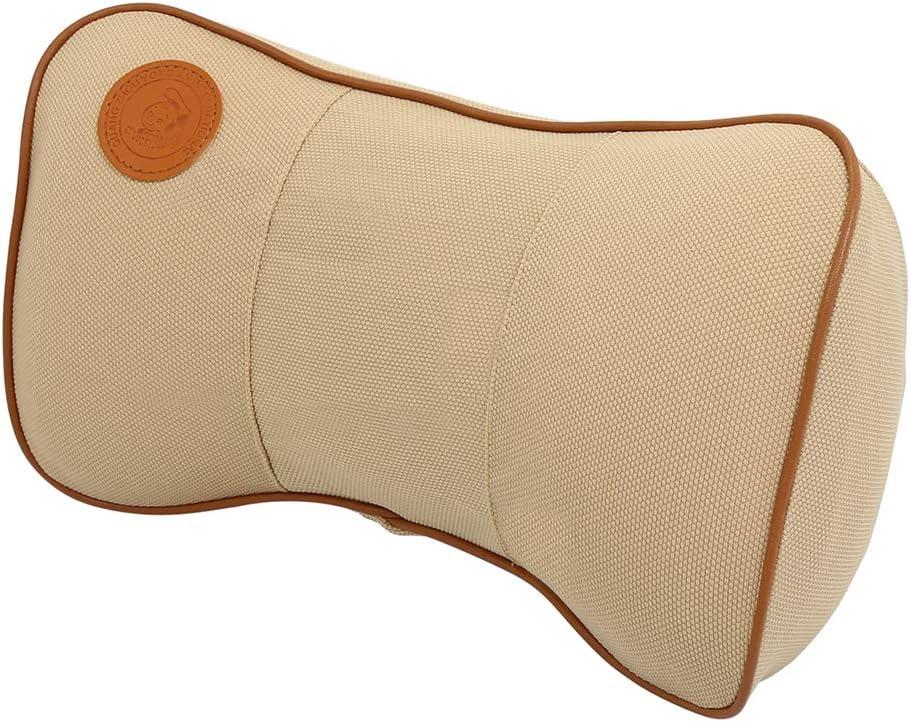 X AUTOHAUX Car Seat Neck Pillow Memory Foam Headrest Cushion Brown with Adjustable Strap