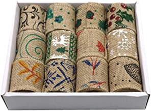 12pcs Burlap Color Fabric Ribbon Roll for Arts & Crafts Homemade DIY Projects,D