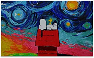 BANDAO Snoopy Sleeping Art Super Absorbent Durable Rubber Entrance Doormat Non-Slip Backing Rug Indoor Outdoor Welcome Doormats Non-Woven Fabric