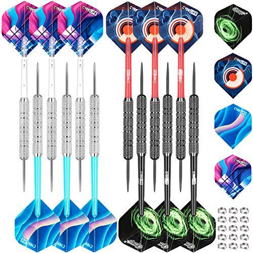 CyeeLife Steel Tip Darts Set 18 Grams with PVC Dart shafts(4 Colors),Black&Sliver Barrels,Home Darts Set