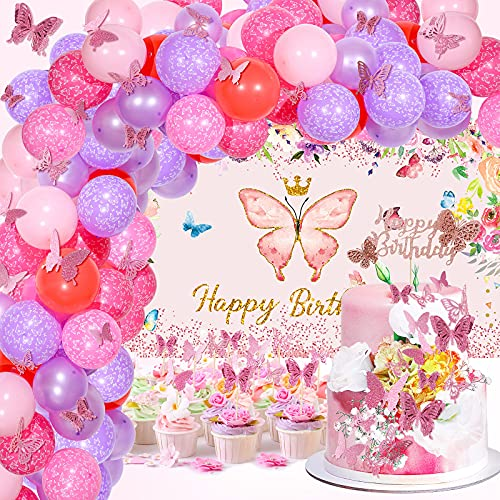Set de 102 Decoraciones de Fiesta de Cumpleaños de Mariposa Banner Fondo de Happy Birthday Globos de Mariposa Topper de Tarta de Mariposa Hueca para Fiesta con Tema de Mariposa Niñas