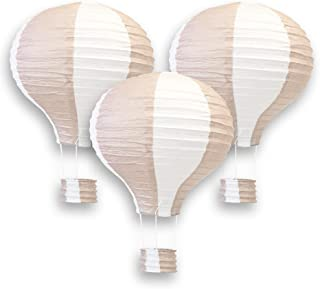 Just Artifacts Decorative 12-Inch Hot Air Balloon Paper Lanterns (3pcs, Nude & White)