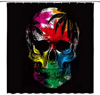 Skull Shower Curtain, Halloween Colorful Sugar Skull Head Skeleton Scary Eyes and Tooth Real Watercolor Art Design Fabric Bathroom Decor Sets with 12 Hooks,71X71 Inchs,Mulit