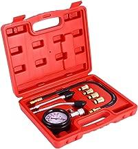 Qiilu Professional Petrol Gas Engine Compression Tester, Test Gauge Kit Car Motorcycle Garage Tools with Case