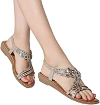 Amlaiworld Women Walking Sandals Summer Bohemia Sweet Beaded Sandals Comfortable Flat Beach Water Sandals