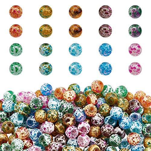 PandaHall Cuentas de vidrio de 8 mm, 300 piezas de 10 colores pintados en aerosol para hacer joyas para adultos, collar, pulsera, pendiente, cortina de cuentas