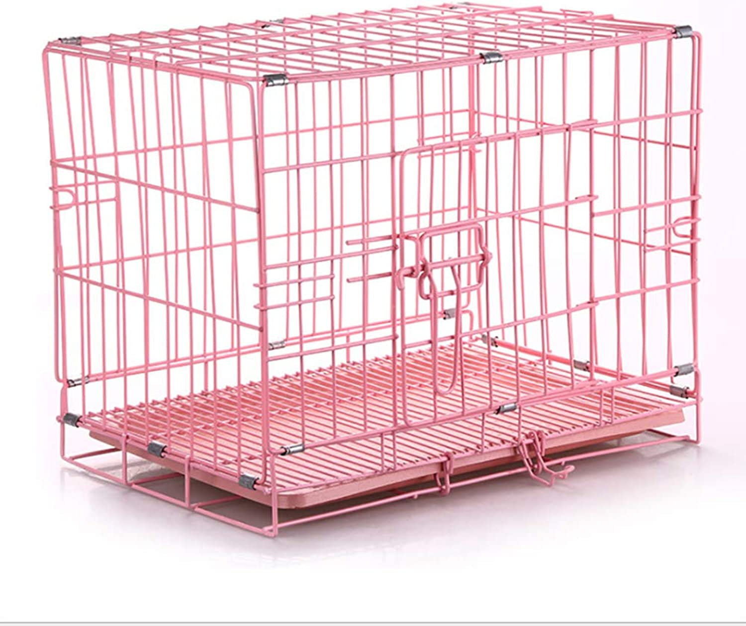 LIULINCUN Folding Metal Dog Wooden Box Easy Install Pink bluee S size for Small pet 46  30  38CM,Pink,46  30  38CM