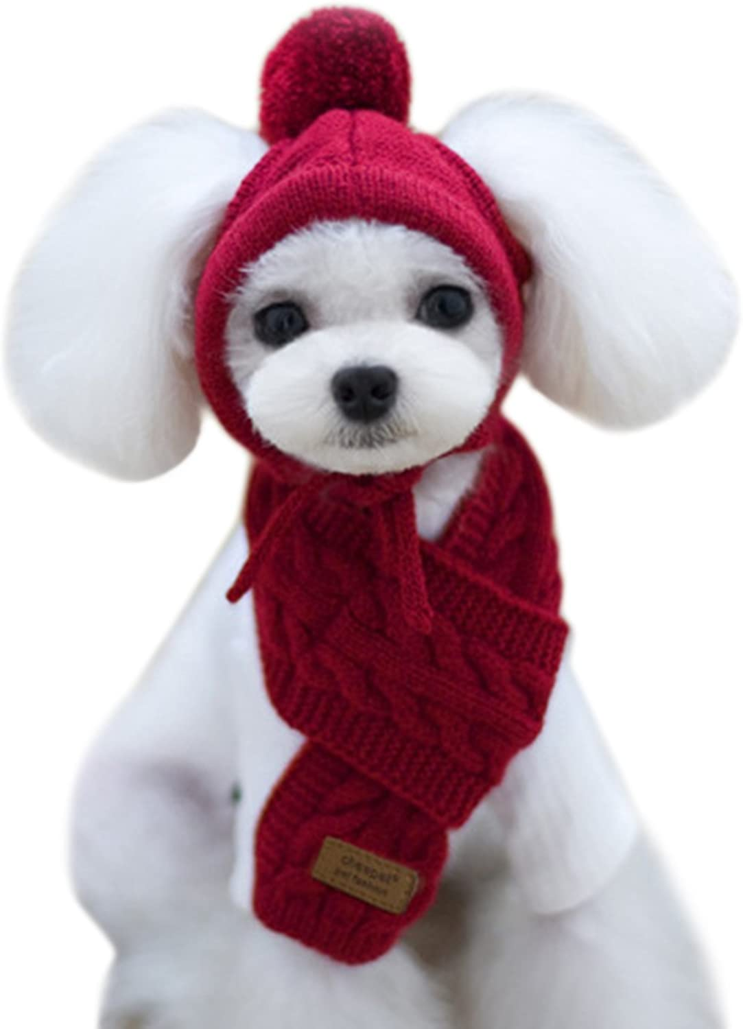 Alfie Pet  Bryn Winter Scarf and Hat Set for Dogs and Cats  color  Burgundy, Size  Small