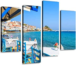 Tables with Chairs in Traditional Greek Tavern in Kokkari Town on Canvas Wall Art Hanging Paintings Modern Artwork Abstract Picture Prints Home Decoration Gift Unique Designed Framed 4 Panel