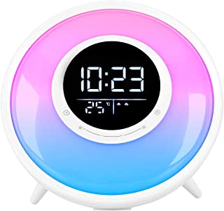 FiveHome All -in-One Wake Up Light Alarm Clock with FM Radio, White Noise Sound Machine,Sleep Timer,10 Color Night Light & 23 Soothing Sounds
