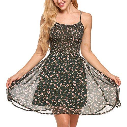 Zeagoo Damen Chiffon Kleid Strandkleid Blumen Druckkleid Bandeaukleid Floral Sommerkleid Spaghetti Trgerkleid, Grn, 40 (Herstellergre : L)