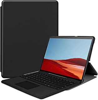 Compatible with Surface Pro X Slim Fit Stand Case PU Leather Folio Tablet Cover with Pen Holder Compatible with Type Cover Keyboard(Black)