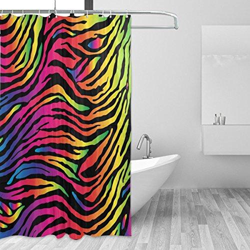CPYang Neon Animal Zebra Haut Polyester Stoff Gardinen Dusche Wasserdicht Schimmelresistent Bad Vorhang für Badezimmer Dekoration mit 12Vorhang Haken 182,9x 182,9cm
