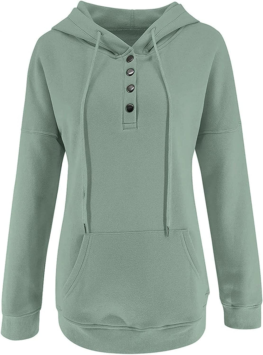 felwors Hoodies for Women, Womens Color Block Pullover Hoodies Casual Button Down Long Sleeve Sweatshirts with Pockets