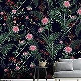 Papel Pintado 3D Flor roja con hojas verdes Moderna Fotomurales Decoración De Pared Sala Cuarto Oficina Salón 350 cm x256 cm