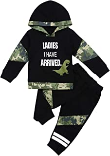 Baby Boy Clothes Dinosaur Letter Print Long Sleeve Hoodie Sweatsuit Tops and Camouflage Pants Outfit Set