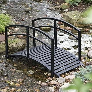 Modern Black Metal 4 Foot Garden Bridge with Railings Outdoor Garden Landscaping Yard Decoration