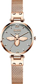 OLEVS Women's Watch - Ultra Thin Fashionable Minimalist - Stainless Steel Case - Rose Gold Mesh Steel Strap - Casual Analog Watch with Quartz Movement - Waterproof Wrist Watches