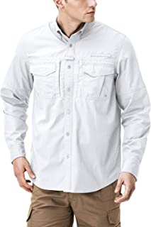 CQR Men's Long Sleeve Work Shirts, Ripstop Military Tactical Shirts, Outdoor UPF 50+ Breathable Button Down Hiking Shirt