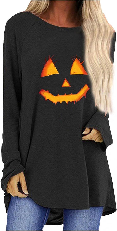 Hotkey Tunic Tops to Wear with Leggings, Halloween Sweatshirt for Women Funny Print Pullover Irregular Hem Long Sleeve Tops