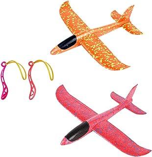 Toyvian Plane Glider Avión Lanzar Espuma Aviones Deportes Al Aire Libre Volar Juguete 2pcs (Sin Batería)