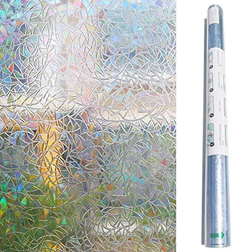 SACHUKOT Fensterfolie Selbsthaftend Blickdicht Sichtschutzfolie Fenster 3D Fensterfolie Sichtschutz Glasfolie Statisch Haftend UV-Schutz ohne Kleber Dekofolie (90 x 200 cm,Unregelmäßiges Muster)