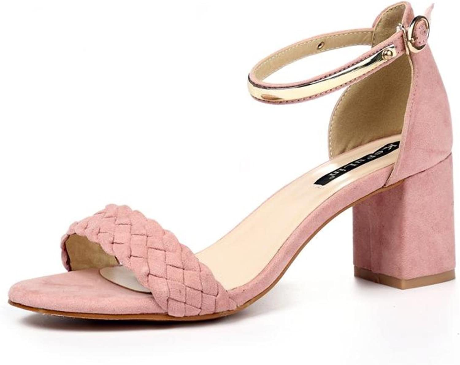 Female Summer Sandals With Retro Classic Rough Handmade Word Buckle Toe With All-match Sexy High-heeled Sandals