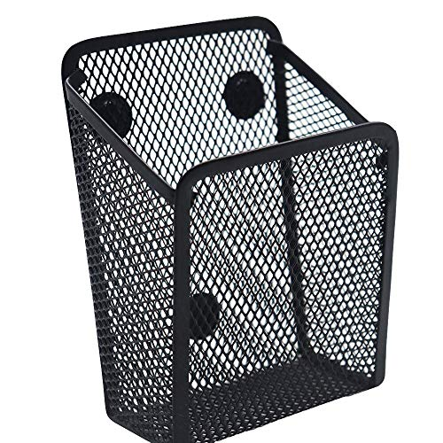 Snow Cooler Magnetic Pencil Holder -Black Generous Compartments Magnetic Storage Basket Organizer - Extra Strong Magnets - Perfect Mesh Pen Holder to Hold Whiteboard, Locker Accessories