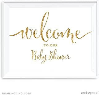 Andaz Press Baby Shower Party Signs, Gold Glitter Print, 8.5x11-inch, Welcome to Our Baby Shower, 1-Pack, Not Real Glitter