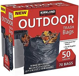 Kirkland Signature Smart Closure Outdoor Lawn 50 Gallon Trash Bags, 70 Count
