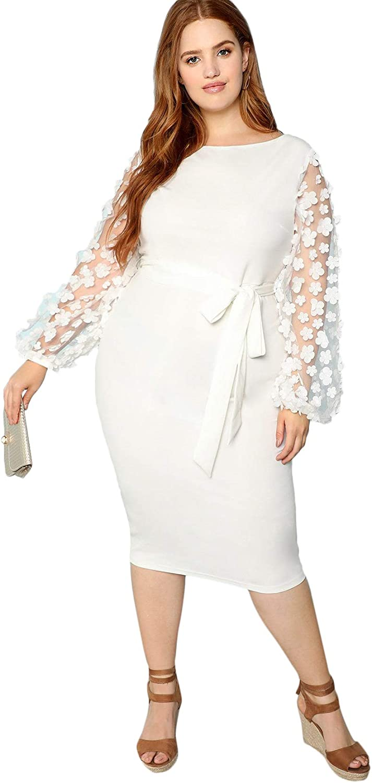 SheIn Women's Plus Elegant Mesh Contrast Appliques Sleeve Stretchy Bodycon Pencil Dress