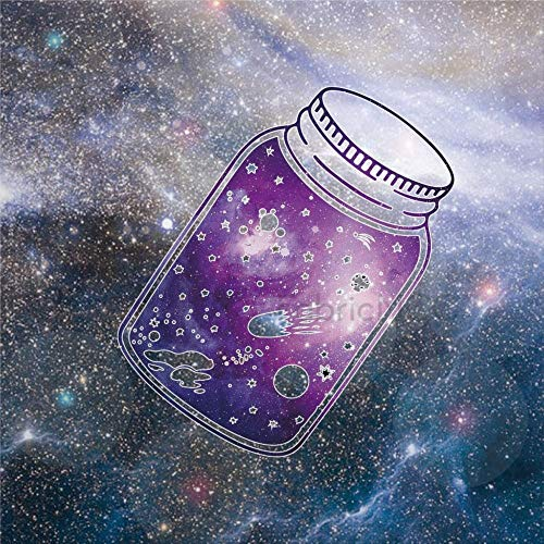 daoyiqi Juego de adhesivos decorativos para azulejos, diseño de galaxia, ilustración del espacio exterior, ciencia, espacio cielo, 10,6 x 10,1 cm, adhesivo de vinilo para suelo, 12 unidades