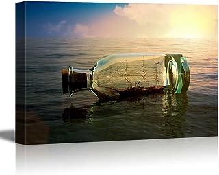 wall26 – Canvas Prints Wall Art – Ship in a Drifting Bottle at Sea Retro..