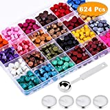 Paxcoo 624Pcs Sealing Wax Beads, Sealing Wax for Wax Seal Stamp, Hexagon Wax Seal Beads with A Wax Spoon and 4Pcs Tea Candles (24 Colors)