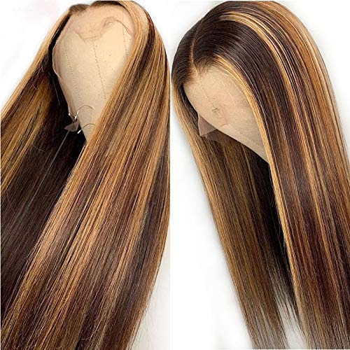 13x6 Straight Highlight 27 Colored Lace Front Wigs Human Hair PrePlucked Middle Part For Women Brazilian Lace Front Human Hair Wigs 150% Density. (18inch)