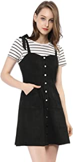 Allegra K Women's Overalls Faux Suede A Line Short Pinafore Button Up Overall Dress