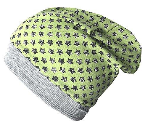 Wollhuhn Beanie-Mütze mit Kritzelsternchen in grün, für Jungen und Mädchen, 20170817, Größe XXS: KU 36/40 (bis ca 6 Mon.)