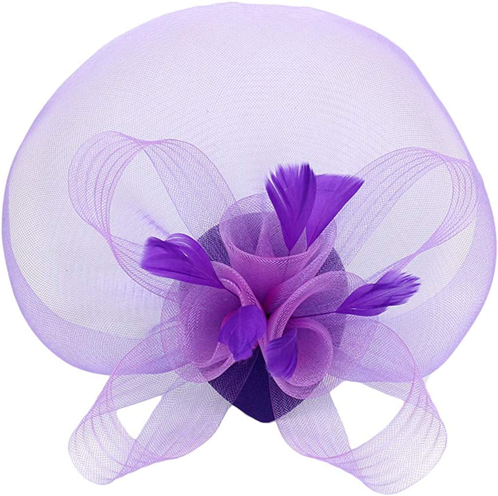 VISOEP Women Fascinator Hats Pillbox Hat with Veil Headband and a Forked Clip Tea Party Headwear