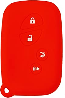 qualitykeylessplus Protective Rubber Silicone Cover for Lexus 4 Button Remote FCC ID: HYQ14AAB / HYQ14ACX / HYQ14AEM (Red)