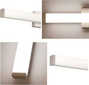 YHTlaeh Bathroom Vanity Light Brushed Nickel Square LED 24 inch 14W 4000K Natural White Light Wall Bar Lighting Fixtures Over Mirror